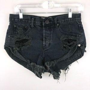 One Teaspoon Black Distressed Bandits Shorts 25